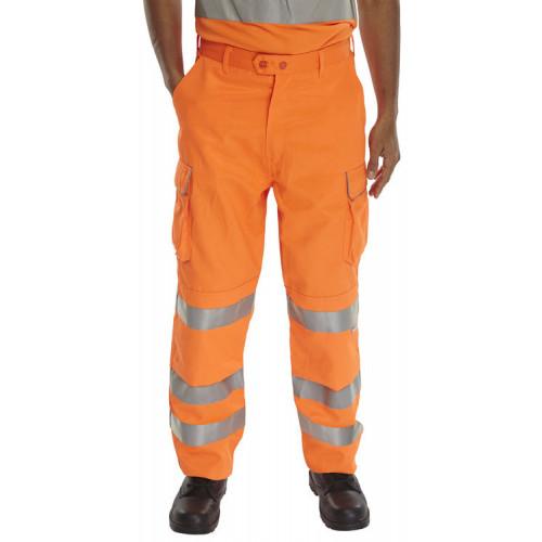 Hi Vis Orange Rail Spec Trouser 3-Band