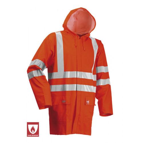 Flame Retardant Unlined Jacket Hi Vis Orange Waterproof
